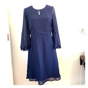 Venus Navy Blue Tassel Long Sleeve Dress